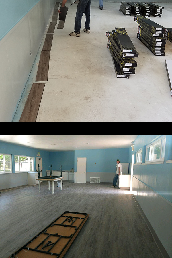 Rocaille Artisan LVT planks flooring installation—before and after